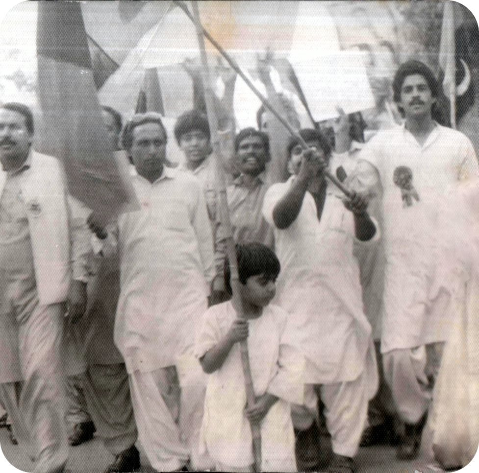 Fraz Wahlah as a child flag-bearer of the Movement for Restoration of Democracy against Dictatorship in Pakistan shortly before his arrest which made him the youngest political prisoner in Asia and perhaps in World